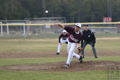 Stefan Simmons pitches to out Sumner in the first inning.  Photo by Franklin Brown