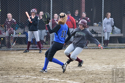 Sophia Steinberg makes it home safe in the second inning against Sumner.  Photo by Franklin Brown