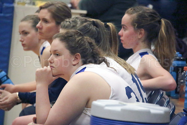 sports; DIS; GSA; girls; Mariners; bench; 121516; Deer IsleStonington High School; Eagles; George Stevens Academy; dishs; game; high school; school; sport; team Brienna Limburner watches from the Mariner bench. Photo by Anne Berleant