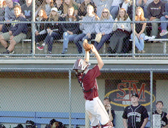 sports; GSA; regional; finals; Dakota; catch; 061616; Eagles; George Stevens Academy; baseball; game; high school; school; sport; team Dakota Chipman makes a catch on a pop fly at the plate. Photo by Monique Labbe