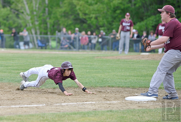 sports; GSA; boys; Nick; Norton; 061116; Eagles; George Stevens Academy; baseball; game; high school; school; sport; team Nick Norton dives for third base in the sixth inning of the semifinal. Photo by Franklin Brown