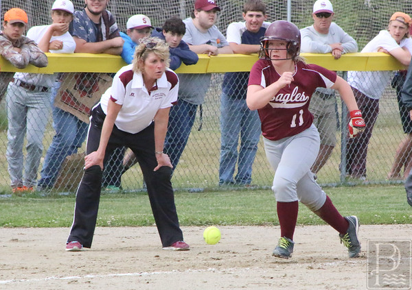 sports; GSA; softball; prelim; towards; home; 061616; Eagles; George Stevens Academy; game; high school; school; sport; team Coach Stormi Wentowrth urges Sarah Mullen towards home plate. Photo by Anne Berleant