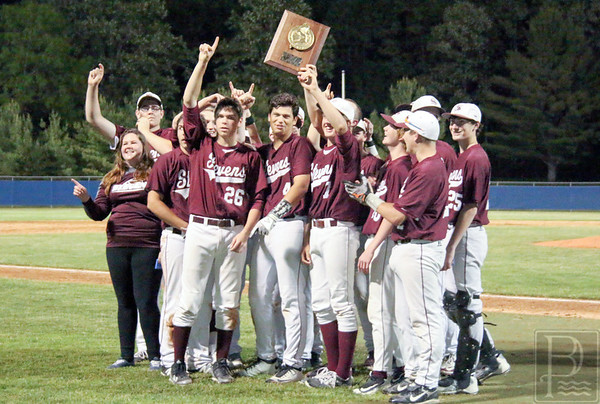sports; GSA; regional; finals; celebration; 061616; Eagles; George Stevens Academy; baseball; game; high school; school; sport; team The George Stevens Academy Eagles celebrate their win with the Class C North championship plaque. Photo by Monique Labbe
