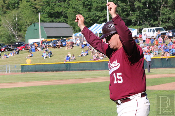 GSA; ball; states; dan; kane; 062316; Eagles; George Stevens Academy; baseball; championship; game; high school; school; sport; sports; team Eagle Head Coach Dan Kane signals his runner all the way home. Photo by Anne Berleant