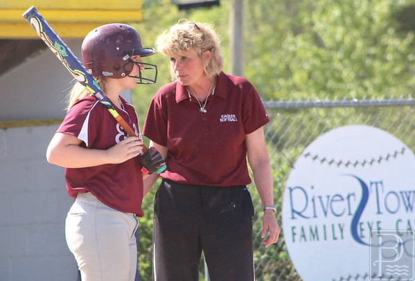 sports; GSA; softball; bucksport; coach; 060216; Eagles; George Stevens Academy; game; high school; school; sport; team Coach Stormi Wentworth counsels Sarah Mullen. Photo by Anne Berleant