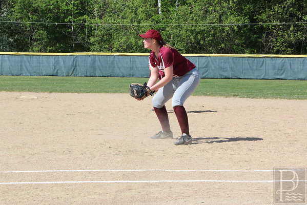 sports; GSA; softball; bucksport; lily; cox; 060216; Eagles; George Stevens Academy; game; high school; school; sport; team Senior Lily Cox stands firm at first base. Photo by Anne Berleant