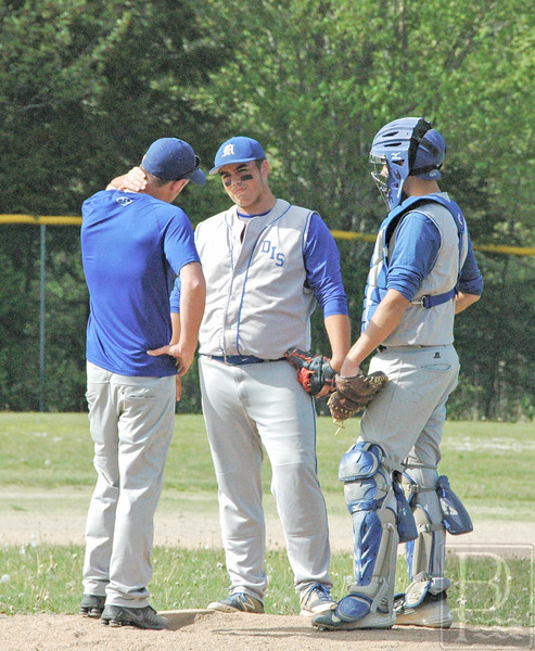 sports; DIS; balll; searsport; coach; hale; 060216; Eagles; GSA; George Stevens Academy; baseball; game; high school; school; sport; team Coach Hale confers on the mound. Photo by Jack Scott