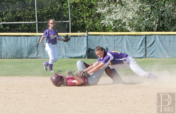 sports; GSA; softball; bucksport; out; 060216; Eagles; George Stevens Academy; game; high school; school; sport; team Katrin Cote gets tagged at second base. Photo by Anne Berleant