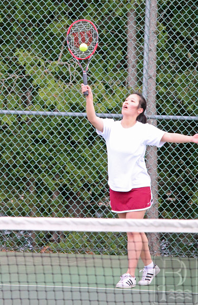 sports; GSA; tennis; Orono; vivan; cheng; serves; 051216; Eagles; George Stevens Academy; game; high school; school; sport; team Doubles player Vivian Chengs serves. Photo by Anne Berleant