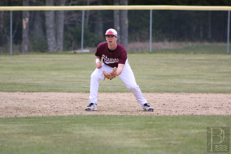GSA; Bucksport; baseball; Jacob; Keenan; 051216; Eagles; George Stevens Academy; game; high school; school; sport; sports; team GSA third baseman Jacob Keenan gets ready to make a play in the infield.
