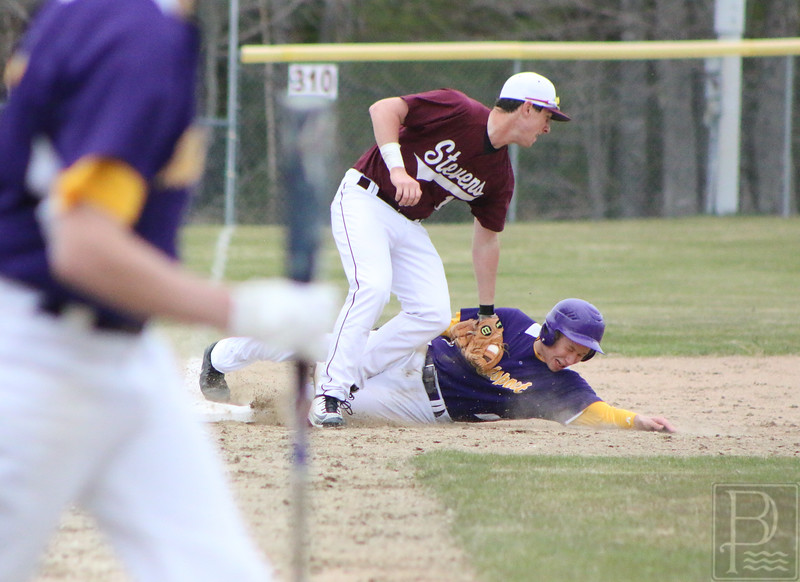 GSA; Bucksport; baseball; tag; out; 051216; Eagles; George Stevens Academy; game; high school; school; sport; sports; team GSA third baseman Jacob Keenan attempts to take out a Bucksport runner at third base.