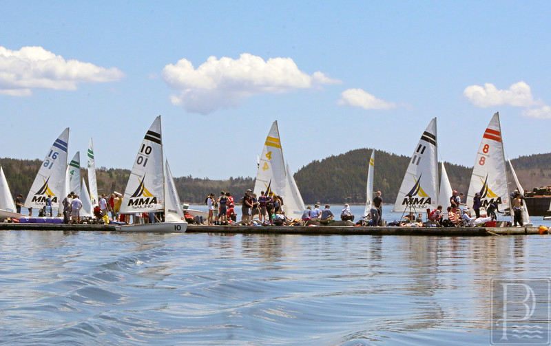 sports; GSA; Downeast; regatta; boats; and; spectators; 051916; Eagles; George Stevens Academy; game; high school; sailing; school; sport; team 420 sailboats are ready for action at the Downeast Regatta. Photo by Monique Labbe