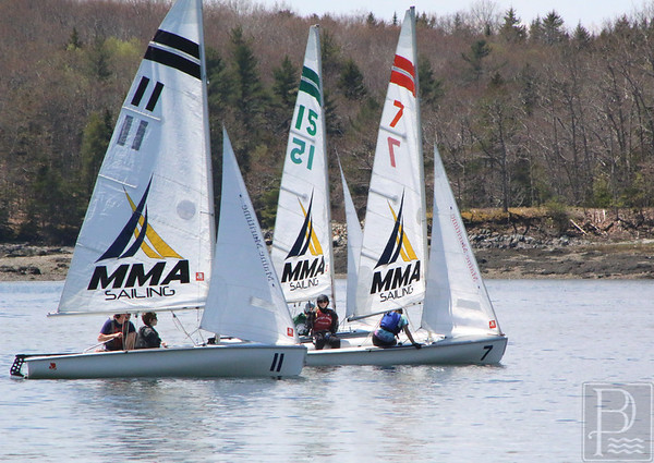 sports; GSA; Downeast; regatta; three; boats; 051916; Eagles; George Stevens Academy; game; high school; sailing; school; sport; team Shifting, if not strong, wind challenges sailors at the Downeast Regatta. Photo by Monique Labbe