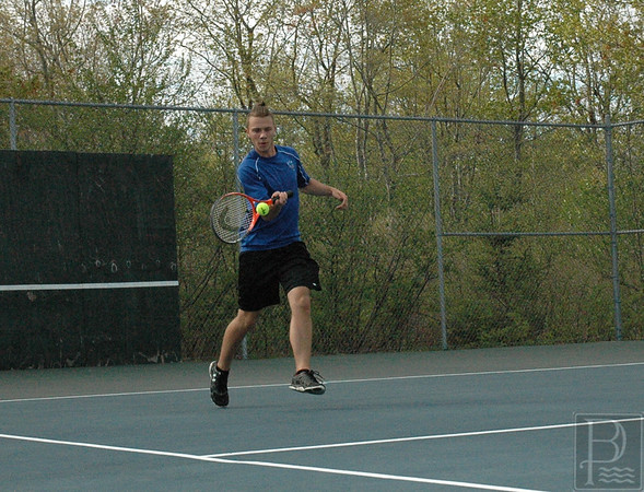 sports; DIS; tennis; SumnerMarvin; Merritt; 052616; Deer IsleStonington High School; Mariners; dishs; game; high school; school; team Senior doubles player Marvin Merritt hits a return in a win against Sumner. Photo by Jack Scott