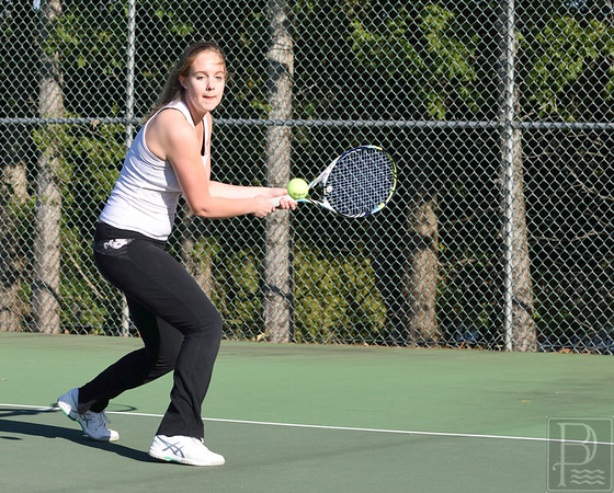 sports; GSA; DIS; tennis; abbey; frost; 050516; Eagles; George Stevens Academy; game; high school; school; sport; team Abbey Frost hits a return in a match against Deer Isle-Stonington. Photo by Franklin Brown