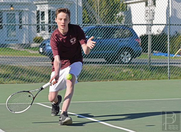 sports; GSA; dis; tennis; leif; lyon; miller; 050516; Eagles; George Stevens Academy; game; high school; school; sport; team Doubles player Leif Lyon-Miller schoops his return. Photo by Franklin Brown