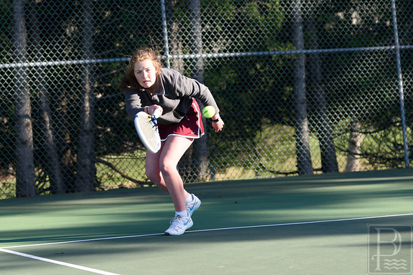 sports; GSA; DIS; tennis; erin; niehoff; 050516; Eagles; George Stevens Academy; game; high school; school; sport; team Erin Niehoff lunges and strikes a return against Deer Isle-Stonington. Photo by Franklin Brown