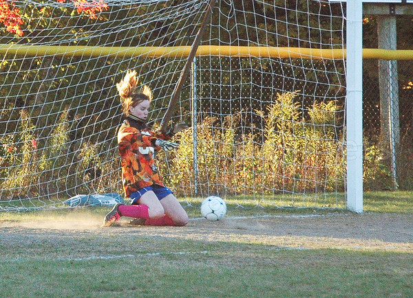 sports; DIS; girls; jessalyn; gove; 101316; Deer IsleStonington High School; Mariners; dishs; game; high school; school; team Mariner Jessalyn Gove makes a save. Photo by Jack Scot.