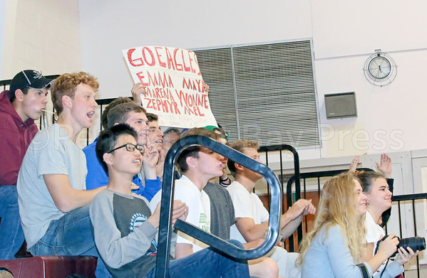 sports; GSA; volleyball; Sumner; fans; 102016; Eagles; George Stevens Academy; game; high school; school; sport; team Fans cheer on the George Stevens Academy volleyball team. Photo by Monique Labbe