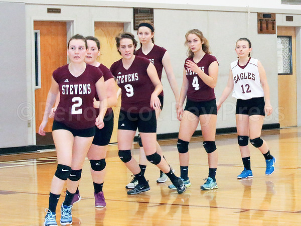 sports; GSA; volleyball; Sumner; team; 102016; Eagles; George Stevens Academy; game; high school; school; sport George Stevens Academy players get ready to shake hands with Sumner after their win. Photo by Monique Labbe
