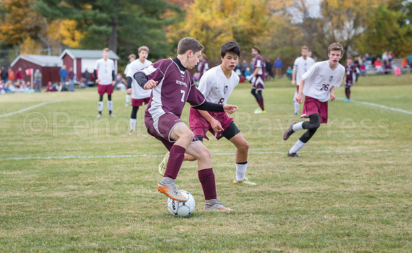 Sports; GSA; ORONO; QFs; chris; bennett; 102716; 2016; Maine; OCTOBER; QUARTERFINAL; TATE YODER PHOTOGRAPHY; WEEKLY PACKET; boys soccer; fall Chris Bennett trips up an Orono defender. Photo by Tate Yoder
