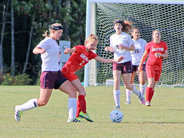Sports; gsa; girls; dexter; goal; fight; 092216 Morgan Dauk fights for the goal against Dexter. Photo by Anne Berleant