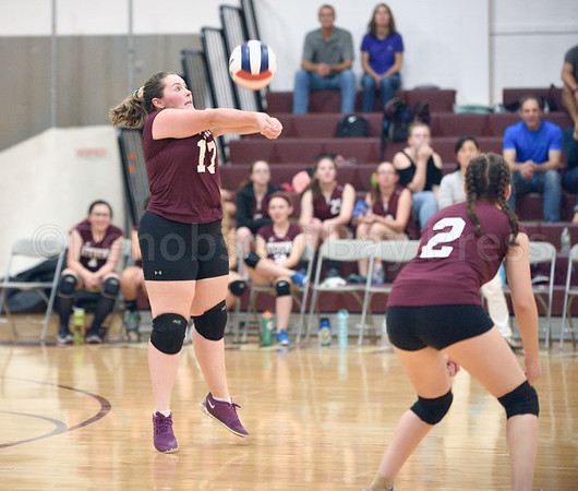 sports; GSA; girls; Ellsworth; Weed; 091616; Eagles; George Stevens Academy; game; high school; school; sport; team Emma Weed hits a set shot from the back court for the net players to return. Photo by Franklin Brown