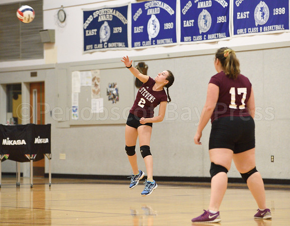 sports; GSA; girls; Ellsworth; Koenka; 091616; Eagles; George Stevens Academy; game; high school; school; sport; team Marena Koenka hits a serve from the baseline. Photo by Franklin Brown