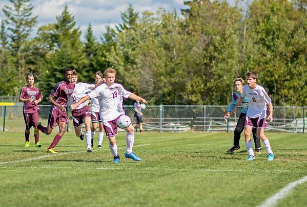 Sports; GSA; boys; soccer; cameron; gordon; 092916; 2016; Blue Hill; George Stevens Academy; HIGH SCHOOL BOYS SOCCER; Maine; TATE YODER PHOTOGRAPHY; WASHINGTON ACADEMY; WEEKLY PACKET; fall; september Cameron Gordon maintains control of the ball. Photo by Tate Yoder