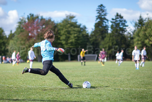 Sports; GSA; boys; soccer; Alec; Witham; 092916; 2016; Blue Hill; Bucksport; George Stevens Academy; HIGH SCHOOL GIRLS SOCCER; Maine; TATE YODER PHOTOGRAPHY; WEEKLY PACKET; fall; september Goalie Alec Witham kicks against Washington Academy. Photo by Tate Yoder