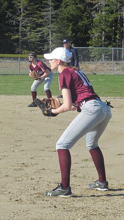 sports; GSA; ball; hannah; peasley; 042717; Eagles; George Stevens Academy; game; high school; school; sport; team Senior Hannah Peasley holds down first base against Washington Academy. Photo by Anne Berleant