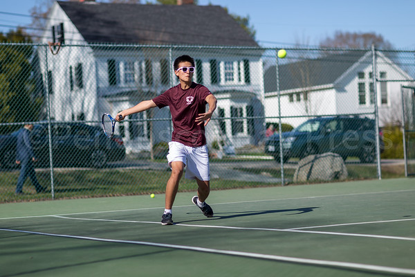 sports; GSA; DIS; tennis; boris; chen; 042717; Deer IsleStonington High School; Eagles; George Stevens Academy; dishs; game; high school; school; sport; team Boris Chen swings a forehand. Photo by Tate Yoder