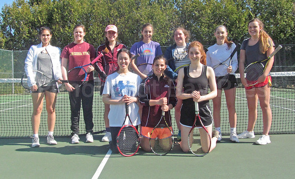 sports; GSA; tennis; teams; girls; one; 042717; Eagles; George Stevens Academy; game; high school; school; sport; team Front row, from left: Chloe Politte, Vivian Cheng, Tatiana Heggestad, Yvonne Rogers. Back row: Julianna Allen, Lillie Maier, Lindsay Nevin, Courtney Bianco, Katie Schweitzer, Libby Weed. Not pictured: Genevieve Claybaugh, Rita Gan, Zepher Martin. Photo by Anne Berleant