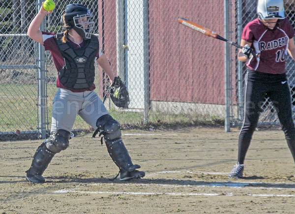 sports; GSA; ball; sarah; mullen; 042717; Eagles; George Stevens Academy; game; high school; school; sport; team Senior Sarah Mullen returns a pitch. Photo by Anne Berleant