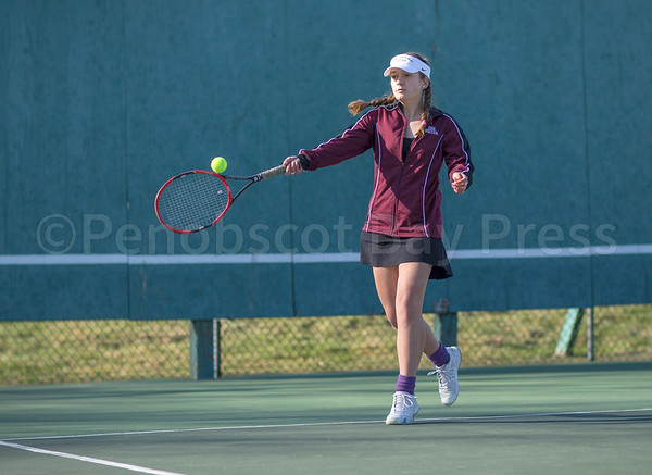 sports; GSA; DIS; tennis; lindsay; nevin; 042717; Deer IsleStonington High School; Eagles; George Stevens Academy; dishs; game; high school; school; sport; team Eagle Lindsay Nevin controls her return. Photo by Tate Yoder