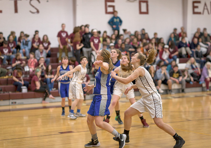 sports; GSA; girls; Searsport; dauk; 021617; Eagles; George Stevens Academy; basketball; game; high school; school; sport; team Morgan Dauk, shown pushing through the Searsport defense, will lead the Lady Eagles in the Class C tournament. Photo by Tate Yoder