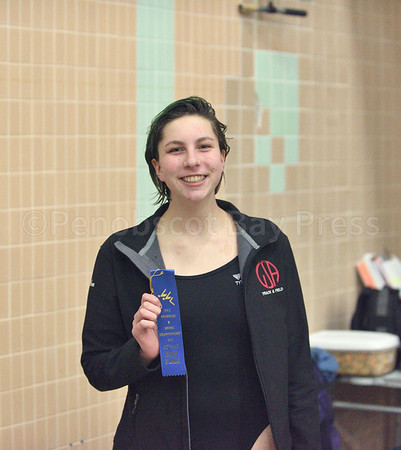 sports; GSA; swim; pvcs; Ava; Sealander; Gold; 021617; Eagles; George Stevens Academy; game; high school; school; sport; team Ava Sealander takes the PVC title in the 200 yard freestyle.  Photo by Franklin Brown