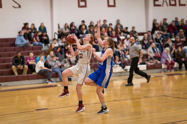 sports; GSA; girls; Searsport; smallidge; 021617; Eagles; George Stevens Academy; basketball; game; high school; school; sport; team Mazie Smallidge goes for the fast break lay-up. Photos by Tate Yoder