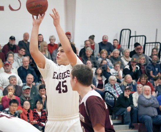 sports; GSA; Ellsworth; simmons; foul; shot; 020917; Eagles; George Stevens Academy; game; high school; school; sport; team Stefan Simmons shoots from the foul line. Photo by Anne Berleant