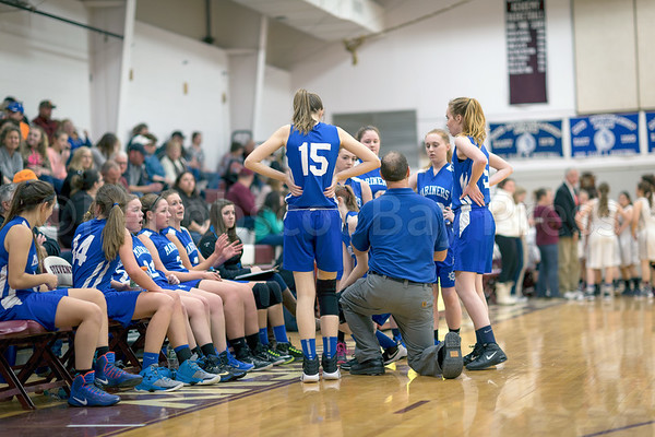 sports; GSA; DIS; girls; bench; 020917; Eagles; George Stevens Academy; game; high school; school; sport; team Coach Randy Shepard rallies his team. Photo by Tate Yoder
