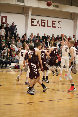 sports; GSA; Ellsworth; taylor; carves; 020917; Eagles; George Stevens Academy; game; high school; school; sport; team Taylor Schildroth carves space to shoot a three-pointer against Ellswroth. Photo by Anne Berleant