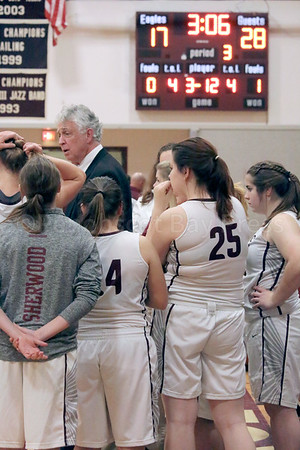 sports; GSA; girls; ellsworth; huddle; score; 011217; Eagles; George Stevens Academy; game; high school; school; sport; team Coach Bill Case tries to rally his team. Photo by Anne Berleant