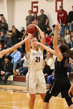 sports; GSA; girls; ellsworth; dauk; two; 011217; Eagles; George Stevens Academy; game; high school; school; sport; team Morgan Dauk shoots from the paint. Photo by Anne Berleant