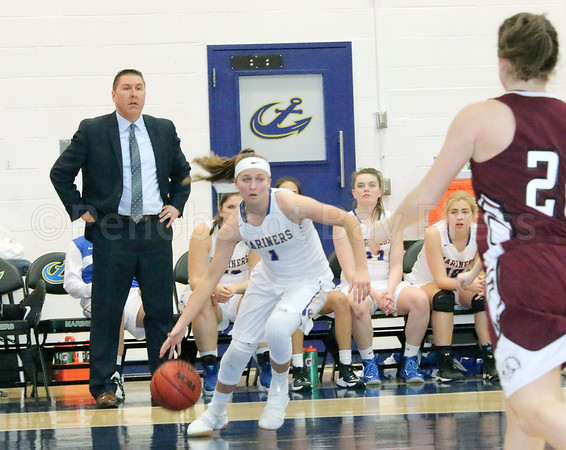sports; MMA; womens; bball; UMF; Doiron; drive; 011917; Maine Maritime Academy; basketball Erin Doiron drives the baseline against the Farmington defense. Photo by Monique Labbe