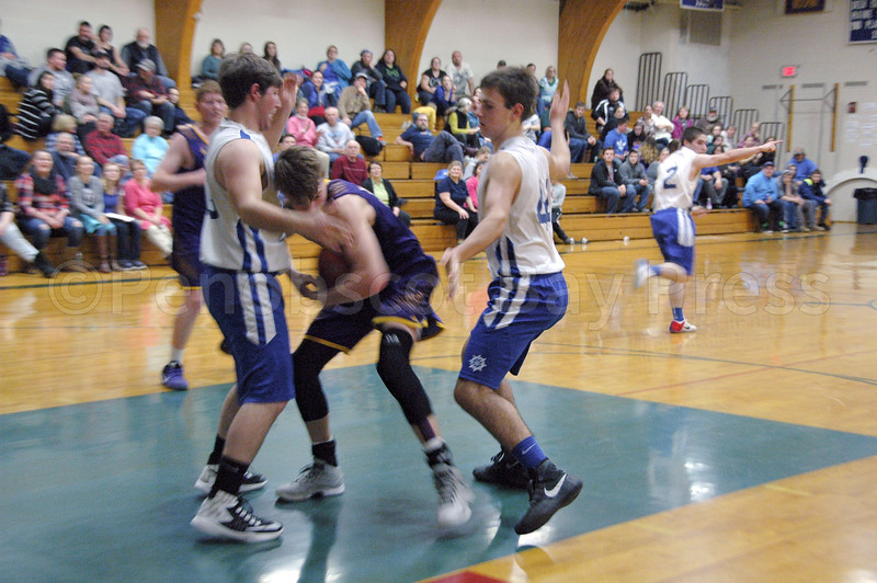 sports; DIS; boys; Bucksport; Toby; Mason; 012617; Deer IsleStonington High School; Mariners; Toby Snow and Mason Oliver close in. Photo by Jack Scott; dishs; game; high school; school; team Toby Snow and Mason Oliver close in on defense. Photo by Jack Scott
