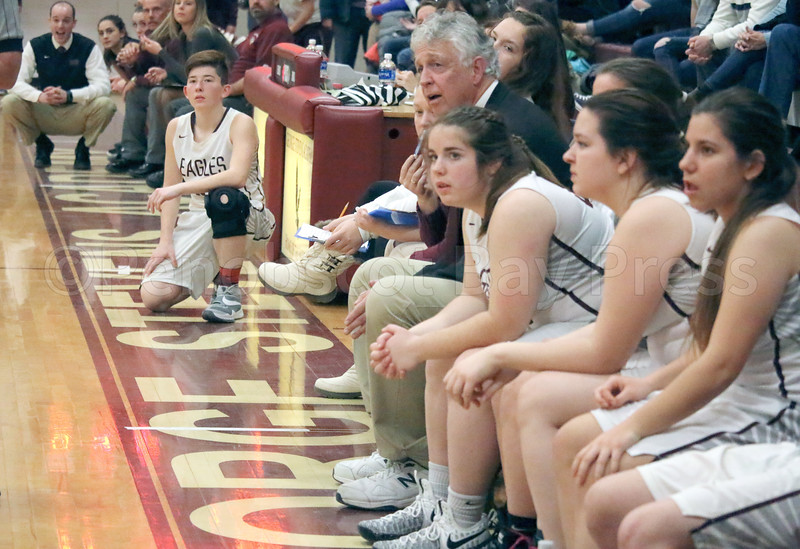 sports; GSA; girls; ellsworth; bench; 011217; Eagles; George Stevens Academy; game; high school; school; sport; team Coach Bill Case watches from the bench at the last Lady Eagles home game against Ellsworth on January 9. Photo by Anne Berleant