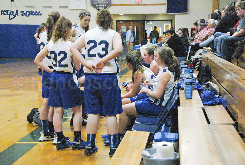 sports; DIS; girls; play; 102617; Deer IsleStonington High School; Mariners; dishs; game; high school; school; team The Lady Mariners are 9-6 and in 5th place. Above, the team takes a time out against Bucksport on January 23. Photo by Jack Scott