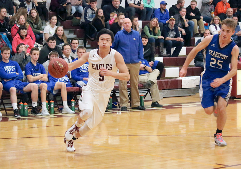 sports; GSA; boys; Searsport; wang; 010517; Eagles; George Stevens Academy; basketball; game; high school; school; sport; team Steven Wang takes the fast break. Photo by Anne Berleant