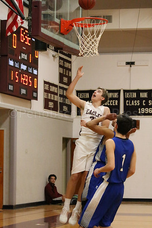 sports; GSA; boys; Searsport; percy; layup; 010517; Eagles; George Stevens Academy; basketball; game; high school; school; sport; team Percy Zentz makes an impact against Searsport. Photo by Anne Berleant