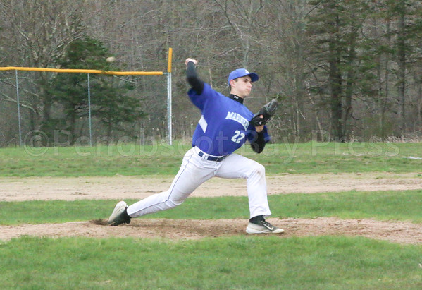 sports; GSA; DISHS; baseball; Oliver; 051117; Eagles; George Stevens Academy; game; high school; school; sport; team Mason Oliver throws a fastball strike from the mound. Photo by Monique Labbe